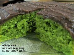 Searching for a good matcha cake recipe-- will try a different icing than red bean. Color and moistness look good on this one.