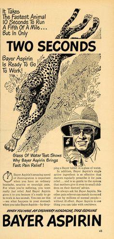 1948 Ad Bayer Aspirin Chetah Headache Pain Tablets - ORIGINAL ADVERTISING TM1