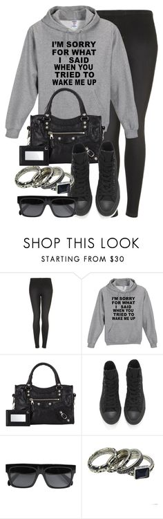 """""""Style #9648"""" by vany-alvarado ❤ liked on Polyvore featuring Topshop, Balenciaga, Converse and CÉLINE"""