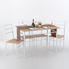 GreenForest 5 PCS Dining Table Chairs Set Rectangle Home .