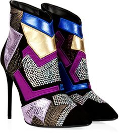 Giuseppe Zanotti Suede Patchwork Ankle Boots with Crystal Embellishment
