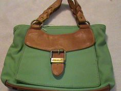 'Eddie Bauer Mint Green & Leather handbag Very Pretty' is going up for auction at  5pm Mon, May 20 with a starting bid of $7.