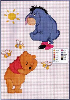 Pooh and Eeyore cross stitch pattern
