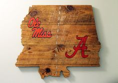 Handmade Ole Miss and Alabama House Divided State Sign (and add in GA)...