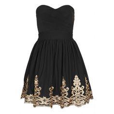 **Lila Bandeau Dress by TFNC (125 BAM) ❤ liked on Polyvore featuring dresses, vestidos, short dresses, black, mini dress, bandeau dress, embroidery dresses and tfnc