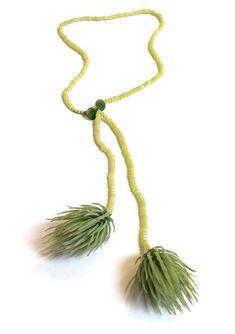 Melinda Young, Acid Double Spiker Neckpiece, 2011,    Artificial Plant Foliage, Jade, Silk Thread