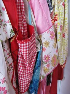I need to find a clever way to display my aprons. Vintage aprons