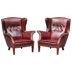 Pair of Danish 1940s Leather Wing Chairs Attributed to Fritz Henningsen