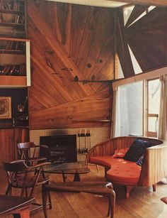 WHARTON ESHERICK, Living room interior of the home owned by Lawrence and Alice Seiver, Villanova, Pennsylvania c.1950/1960s. Wood paneling, built-in furniture, lighting, and movable furniture all by Esherick, expect the sofa table by Isamu Noguchi...