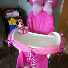 Minnie Mouse chair cover out of a table cloth- could even add white dots on!