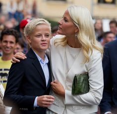 Crown Princess Mette Marit of Norway with son, Marius Borg-Holby.