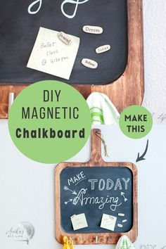 Make an easy DIY magnetic chalkboard for the kitchen with basic tools. This multifunctional board is perfect to write inspirational quotes, add reminders and also for meal planning! Plus it holds your kitchen towel and apron or keys! Focus 4, Beginner Woodworking Projects, Woodworking Plans, Magnetic Chalkboard, Basic Tools, Wood Working For Beginners, Magnets, Easy Diy