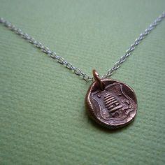 bronze beehive necklace
