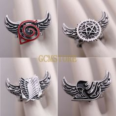 Vintage Anime Attack on Titan, One Piece, Fairy Tail, Naruto & Black Butler Zinc Alloy Rotatable Ring. I want that fairy tail ring. Black Butler, Fairytail, Anime Cosplay, Anime Naruto, Manga Anime, Hot Anime, Choses Cool, One Piece Fairy Tail, Super Anime