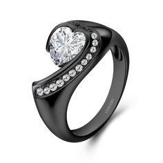 Vancaro - Black Series White Stone In 925 Sterling Silver Studded With Cubic Zirconia Women's Ring