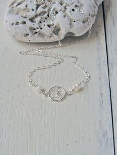 Dream Catcher Choker Necklace, Sterling Silver, White Freshwater Pearl Choker, Short Necklace, Bridesmaid Gift, June Birthstone by NORRANA on Etsy