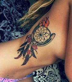 Dreamcatcher & Horseshoe ribs tattoo design