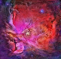 M42, the Orion Nebula, spans about 40 light years. Here, glowing gas surrounds hot young stars at the edge of an immense interstellar molecular cloud only 1500 light-years away. This deep image composite in assigned colors taken by the Hubble Space Telescope wisps and sheets of dust and gas are particularly evident.