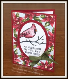 Stampin' in the Sand: Cardinal Season. Stampin up Joyful Season stamp set. holiday christmas card