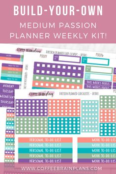 Pick only the sheets that you want! Mix and match to create kits with other planner stickers - with the wide variety of colors it's easy to find something that will match everything in your sticker stash. Cute Planner, Weekly Planner, Happy Planner, Printable Planner, Planner Stickers, Goal Setting Worksheet, Passion Planner, Get Happy, Fitness Planner