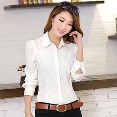 Cheap Womens Tops, Chiffon Shirt, Slim, Lace, Long Sleeve, Stuff To Buy, Shirts, Outfits, Shopping