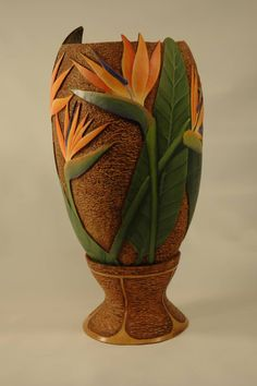 """Gourd art """"Bird of Paradise"""" by Gloria Crane, sold for $650 