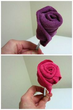 DIY gifts: baby washcloth roses - cindy-campbell Do-it-yourself gifts: baby washcloth roses – cindy-campbell Baby Shower Crafts, Baby Crafts, Baby Shower Parties, Baby Showers, Diy Baby, Handmade Baby, Towel Origami, Towel Animals, How To Fold Towels