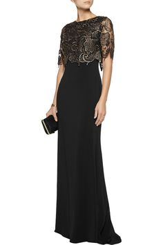 Badgley MischkaLace-paneled cady gown back vestidos Women's Discount Designer Clothes Dressy Dresses, Elegant Dresses, Prom Dresses, Pageant Gowns, Lace Dresses, Club Dresses, Mother Of The Bride Dresses Long, Formal Gowns, Beautiful Gowns