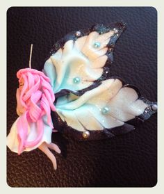 Handmade polymer clay fairy doll kawaii uv reactive glow in the dark - fatina kawaii in fimo si illumina al buio di LisaBetsyLovecraft su Etsy