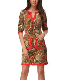 This Red Jungle Notch Neck Dress by Almatrichi is perfect! #zulilyfinds