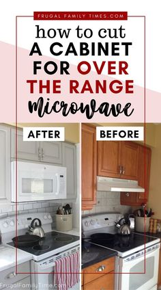 How to make an over-the-range microwave fit - our kitchen update for way less cash. An OTR microwave can be a great DIY for a small kitchen. Old Kitchen, Kitchen On A Budget, Updated Kitchen, Kitchen Dining, Kitchen Decor, Kitchen Cabinets, Kitchen Appliances, Otr Microwave, Interior Design Guide