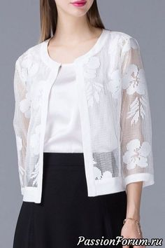 Shop olisi white mesh see-through jacket here, find your jackets at dezzal, huge selection and best quality. Kurta Designs, Blouse Designs, Hijab Fashion, Fashion Dresses, Mode Top, Lace Jacket, Blouse Styles, Stylish Dresses, Lace Tops