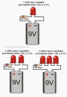 Leds a 9V por ejemplos: