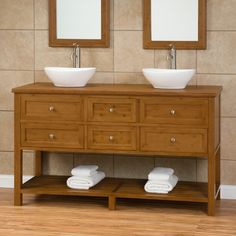 """60"""" Taren Bamboo Double Vanity Cabinet with Bamboo Top - like the top mounted vessel sinks also available in 48"""""""
