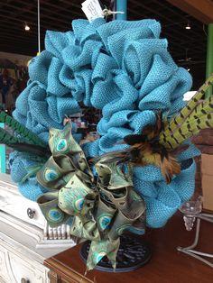 Burlap Peacock Wreath on Etsy, $65.00