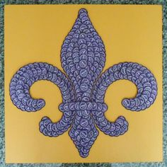 LSU inspired fleur de lis with 300 purple Abita beer bottle caps on a gold painted piece of plywood. I'm selling these for $125. If you are interested in purchasing this or any of my other pieces, email me at acadiandrafting@yahoo.com.