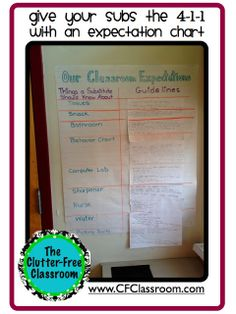 Clutter-Free Classroom: While You Were Out: Make a Classroom Expectation Chart With Your Students