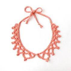 Crochet Necklace Collar Coral Pink by ChiChiDee on Etsy, €16.00https://www.etsy.com/listing/167172175/crochet-necklace-collar-coral-pink?ref=shop_home_active