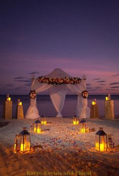 Karro Events and Floral - Key West wedding florist Night Beach Weddings, Wedding Venues Beach, Wedding Gazebo, Dream Wedding, Trendy Wedding, Gold Wedding, Wedding Ideas, Beach Proposal, Church Wedding Flowers
