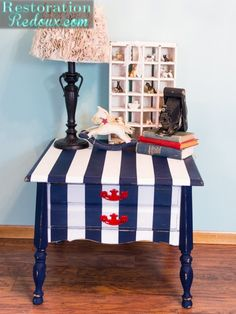 Navy and White Striped Nightstand - Restoration Redoux