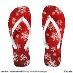 beautiful winter snowflakes flip flops