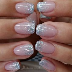 Glitter Tip Nails, Sparkle Nails, Fancy Nails, Trendy Nails, Glitter French Manicure, Sparkle Nail Designs, French Manicure Designs, Glittery Nails, French Manicure With Glitter