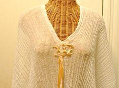 Coral Reef Caftan Dress Beaded Beach Glass Beads Crochet Ribbons White Peach Custom Cotton Beach Spa Sundress Womens by SavoyFaireSpa on Etsy