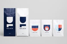 Beautiful branding and packaging for Deluca Coffee , designed by Christopher Doyle & Co . The logotype is based around the D & L letterform. Food Packaging Design, Brand Packaging, Branding Design, Bottle Packaging, Label Design, Packaging Ideas, Cafe Branding, Coffee Shop Branding, Minimal Web Design