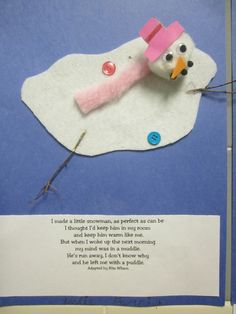 Melted Snowman Poem Melting snowman with rita