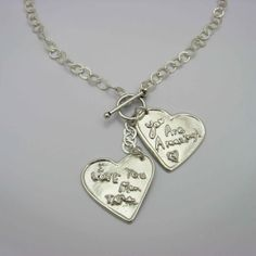Custom Jewelry with YOUR Handwriting - 2 Silver Hearts Necklace