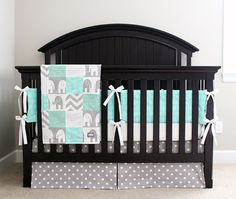 Custom Crib Bedding  Mint and Grey Baby Bedding 3 by GiggleSixBaby, $419.00