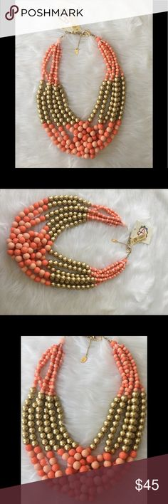 Amrita Singh Coral Multi-strand Chunky Necklace This is such a gorgeous statement piece!!! Substantial weight | Lobster clasp | Care information attached | Amrita Singh Jewelry Necklaces