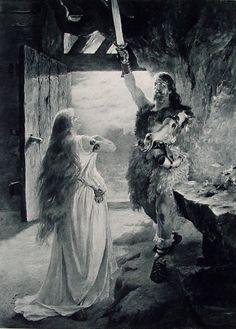 "Ferdinand Leeke (1859 - 1923), Illustration pour ""Die Walküre"" (Acte I, Final) de Richard Wagner."