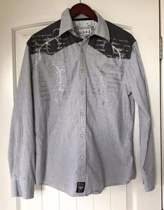Mens-Rock-47-Shirt-Western-Style-Large-Gray-White-Stripe-With-Skull-On-Back